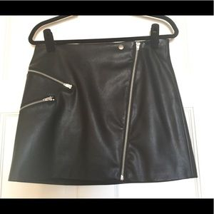 Black pleather mini skirt - barely worn!